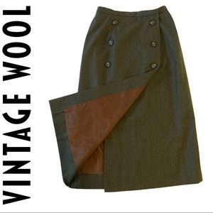 VTG High Waisted Longline Pencil Button Skirt